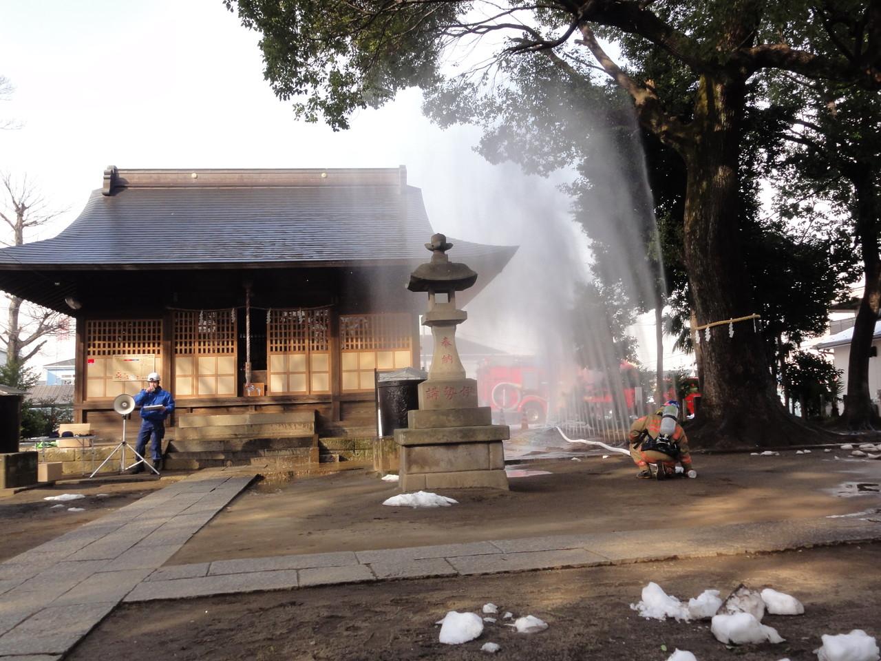 氷川神社文化財防火訓練