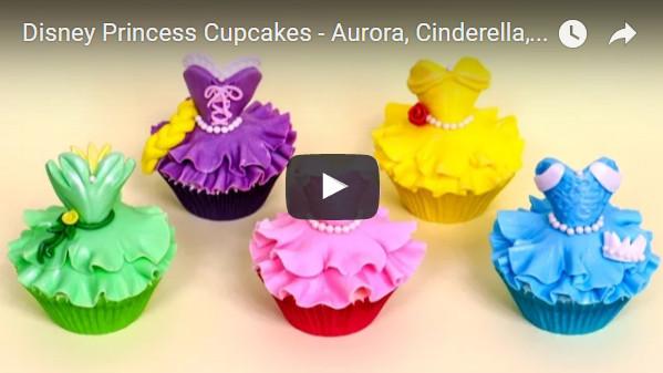 Disney Princess Cupcakes - Aurora, Cinderella, Belle, Rapunzel, Tiana
