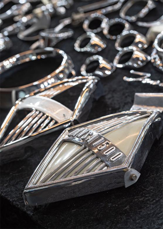 Bild 2 (M3B GmbH/Jan Rathke): Emblem Borgward Hansa 1500. Die Veranstalter der Bremen Classic Motorshow bieten zum Online-Event am Samstag, 6. Februar 2021, einen Teile- und Automobiliamarkt auf ihrer Internetseite an.