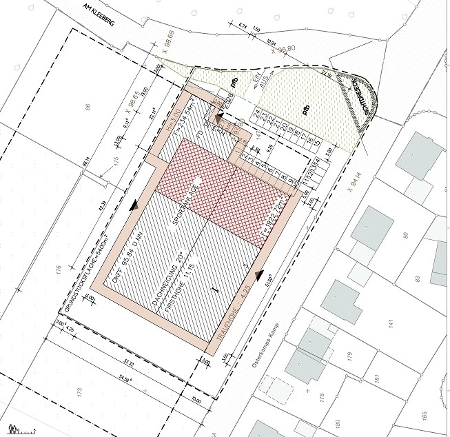 fitness und tennis am kleeberg in lengerich,bild 1 lageplan, Bockhaus-Odenthal Architekten Münster realisieren|optimieren|sanieren|seit 1989 Architektur-individuell |kreativ|energetisch|Architekten AKNW,NRW,germany architects