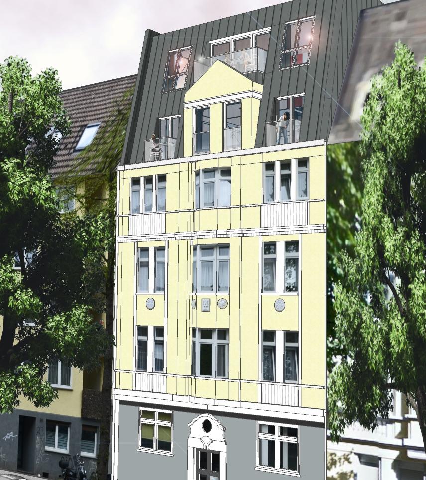 Fassadenansicht mit neuem Dachgeschoss