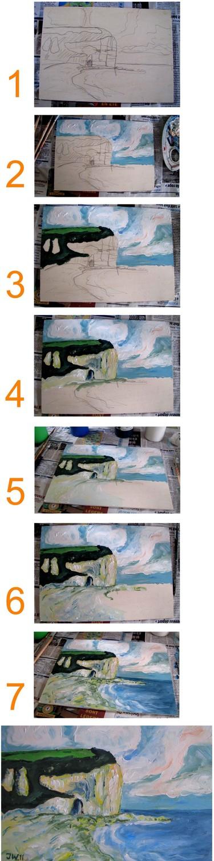"""Von der Skizze zum fertigen Gemälde. """"Yport,plage"""" von 2011, Jens Walko Kunst, walko-art"""