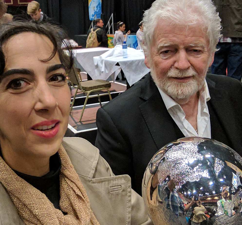 Fernanda Faez TCRG received the sought after Globe from the hands of Irish dance legend Richard Griffin