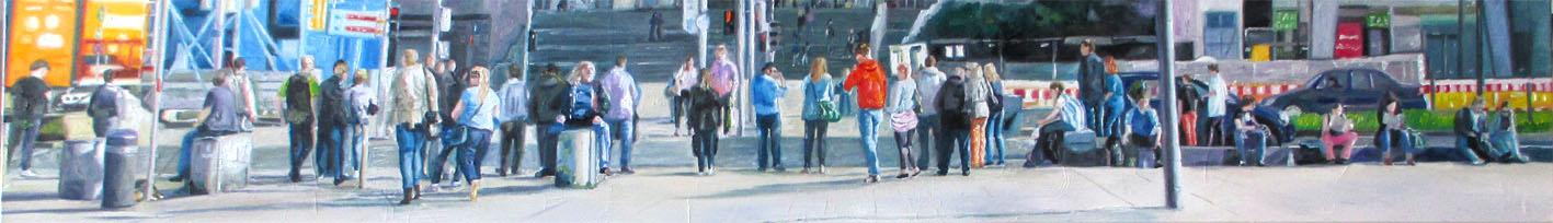 Panorama 30 x 200 x 2 cm in einem weißen Schattenfugenrahmen 34 x 204 cm
