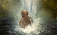 Man onder waterval, acryl op paneel 100 cm x 80 cm VERKOCHT