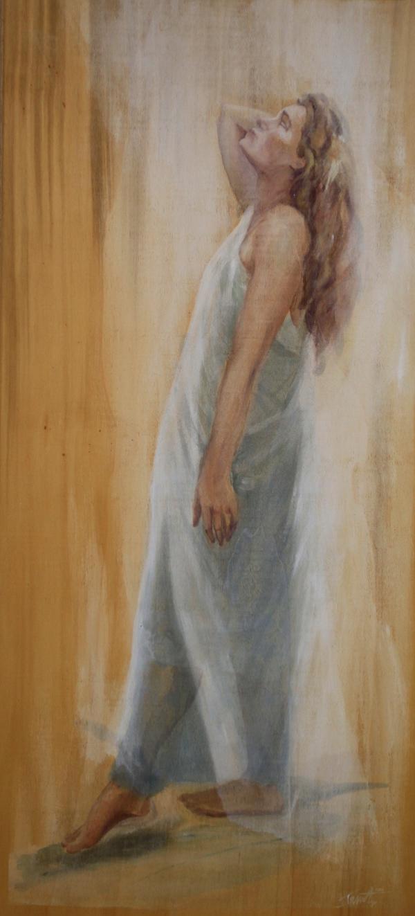 In het licht, acryl  op paneel 80 x 120 cm