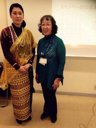 金沢国際交流ラウンジ 四元代表(右)と理事長深山沙衣子(左)