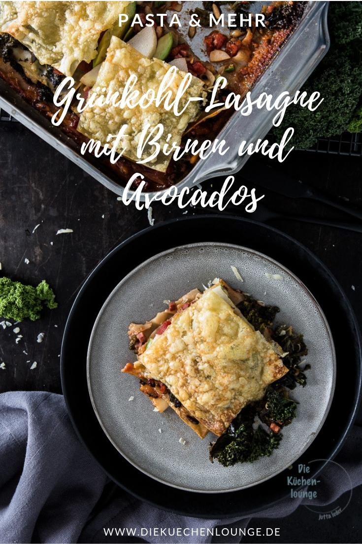 Grünkohl-Lasagne mit Birnen und Avocados