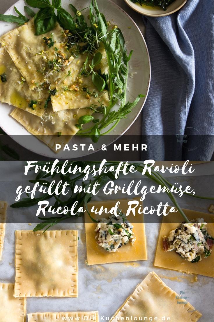 Frühlingshafte Ravioli gefüllt mit Grillgemüse, Rucola und Ricotta