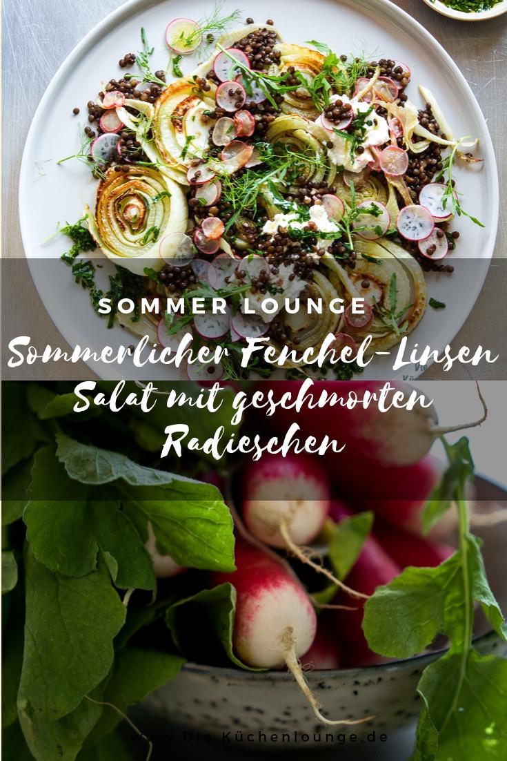 Sommerlicher Fenchel-Linsen Salat mit geschmorten Radieschen