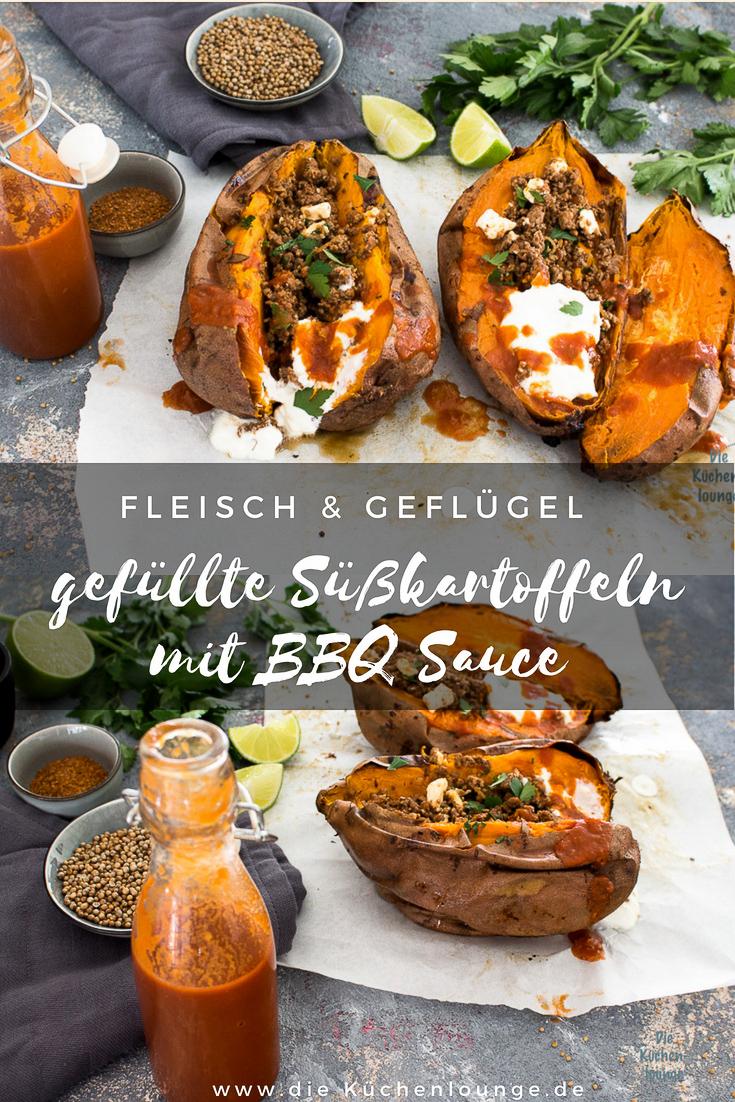 Gefüllte Süßkartoffeln mit BBQ Sauce