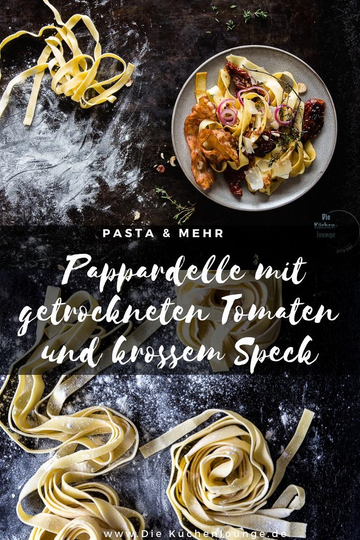 Pasta Pappardelle mit getrockneten Tomaten und krossem Speck
