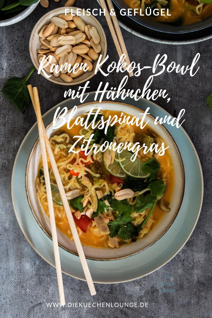 Ramen Kokos-Bowl mit Hähnchen, Blattspinat und Zitronengras