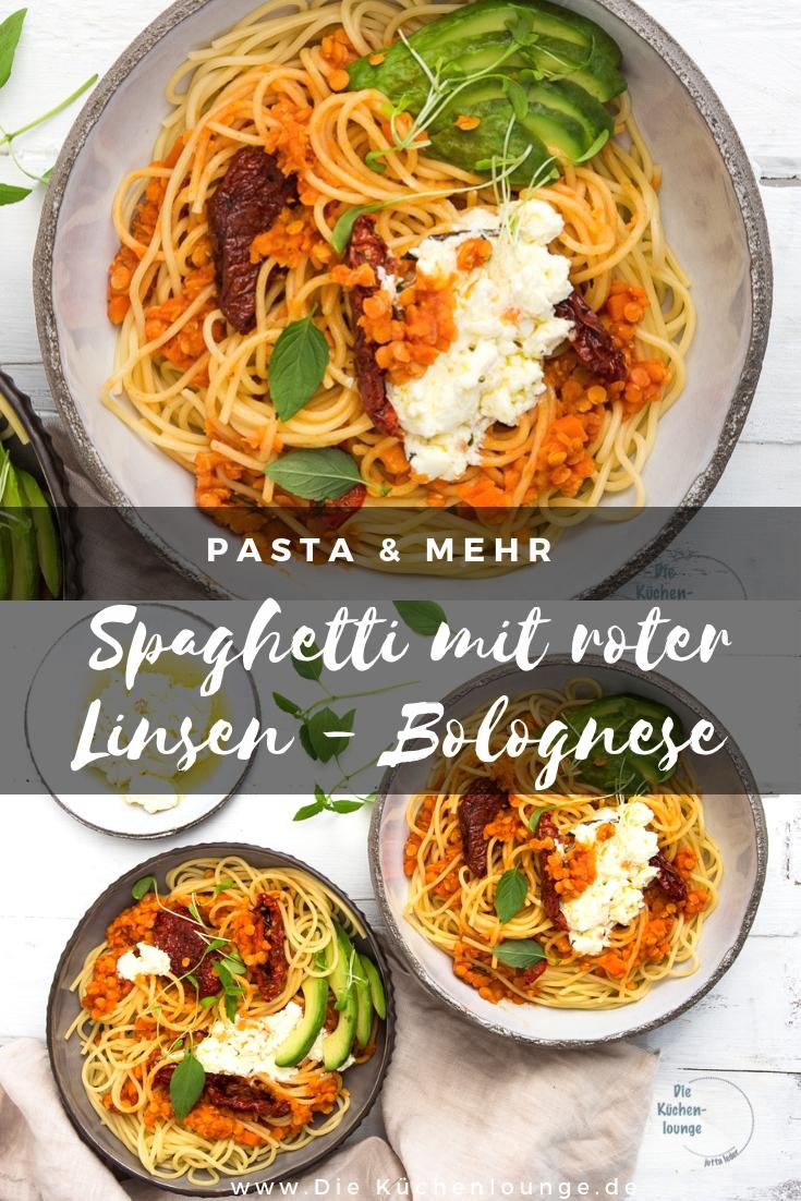 Spaghetti mit roter Linsen Bolognese
