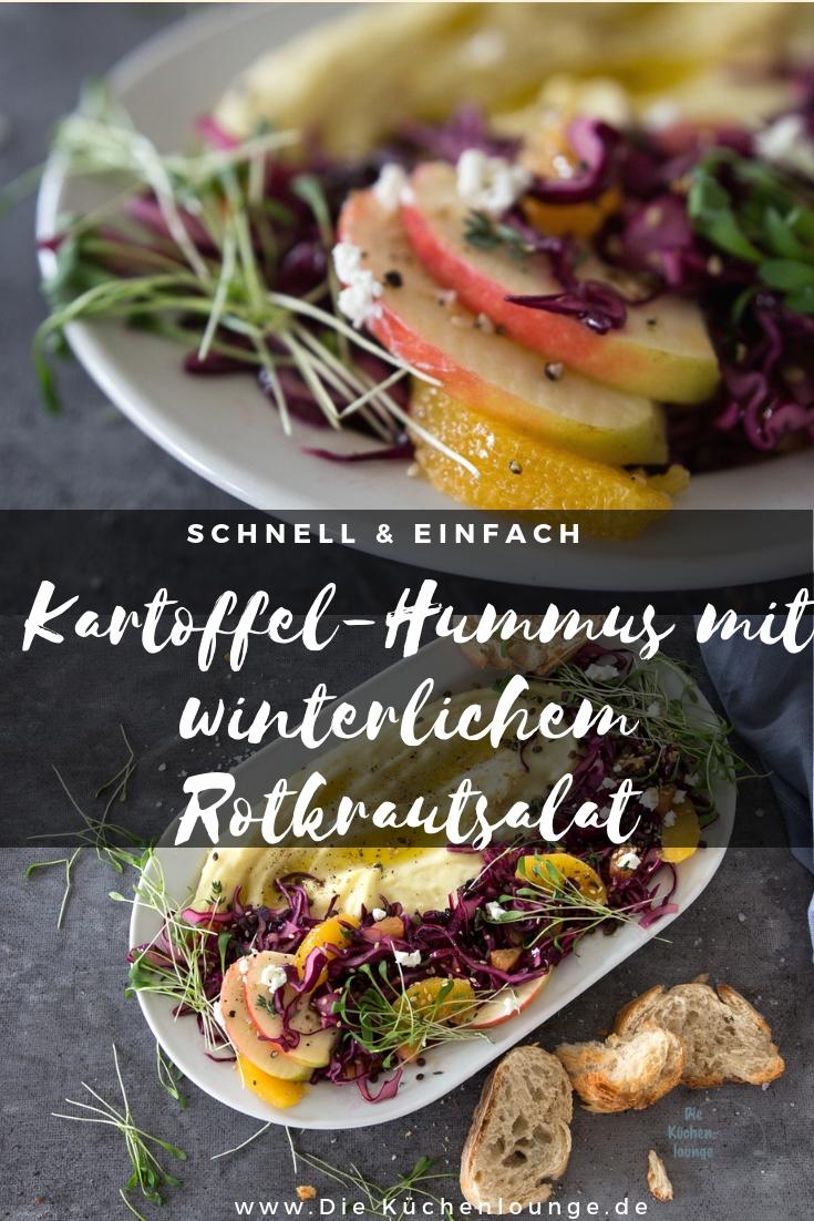 Kartoffel-Hummus mit winterlichem Rotkrautsalat