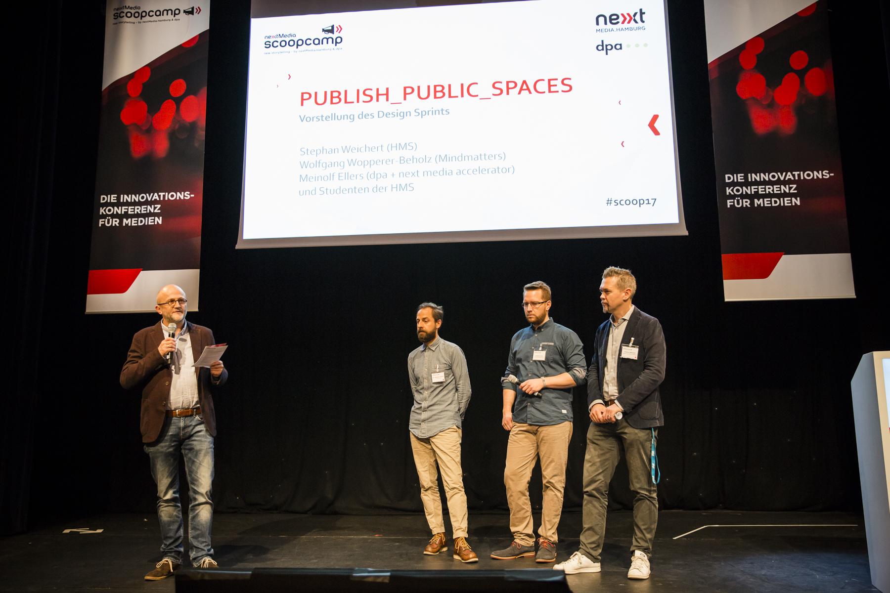 Meinolf Ellers (dpa), Wolfgang Wopperer-Beholz (Mindmatters), Student der HMS & Stephan Weichert (Digital Journalism Initiative)