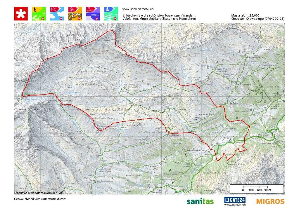 Wanderwege in und um die Alp Breitenboden