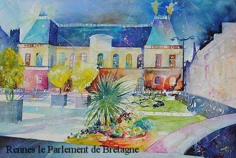 Rennes le Parlement de Bretagne  Prix de la Société des Aquarellistes de Bretagne Salon de Montgermont 2021