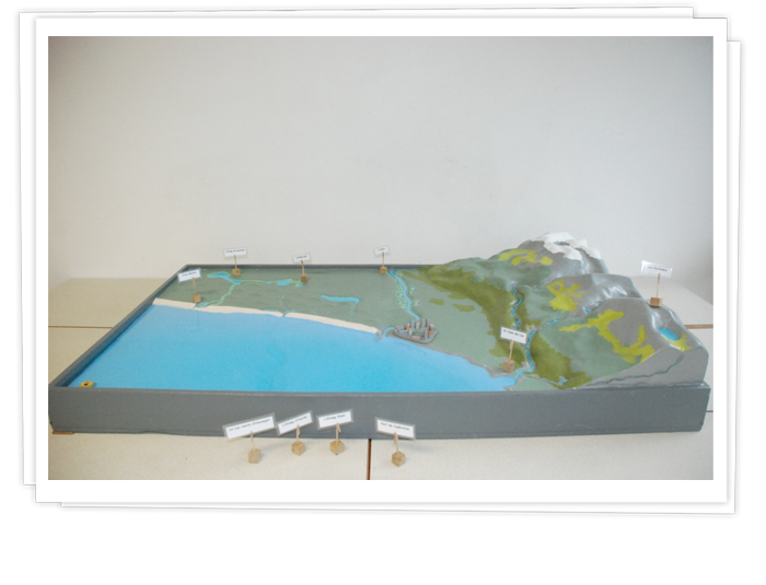 Maquette Golfe de Gascogne.  Cycle de l'eau, déchets du littoral, géographie.