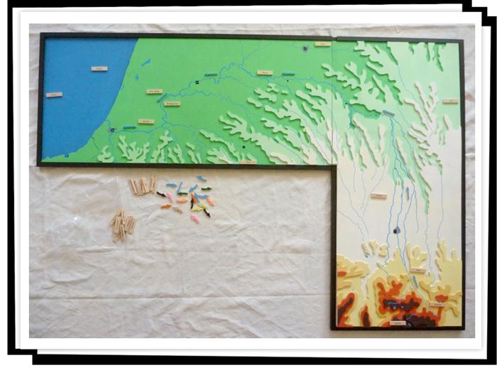 """Maquette en configuration """"bassin versant"""", le cours de l'Adour."""