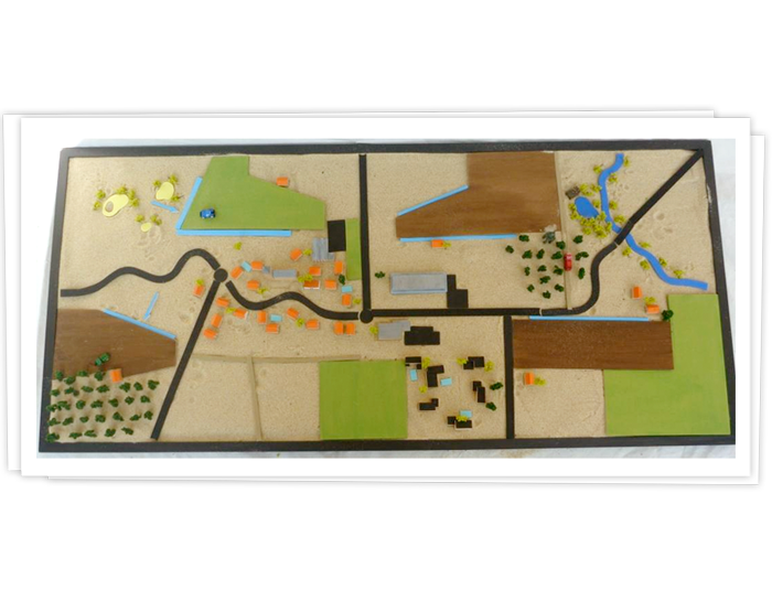 maquette interactive permettant de modéliser divers scénarios autour  des lagunes.