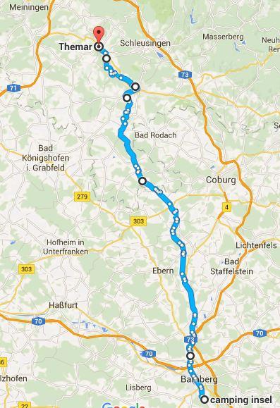 Bamberg, Campingplatz nach Themar über WOM-Radweg