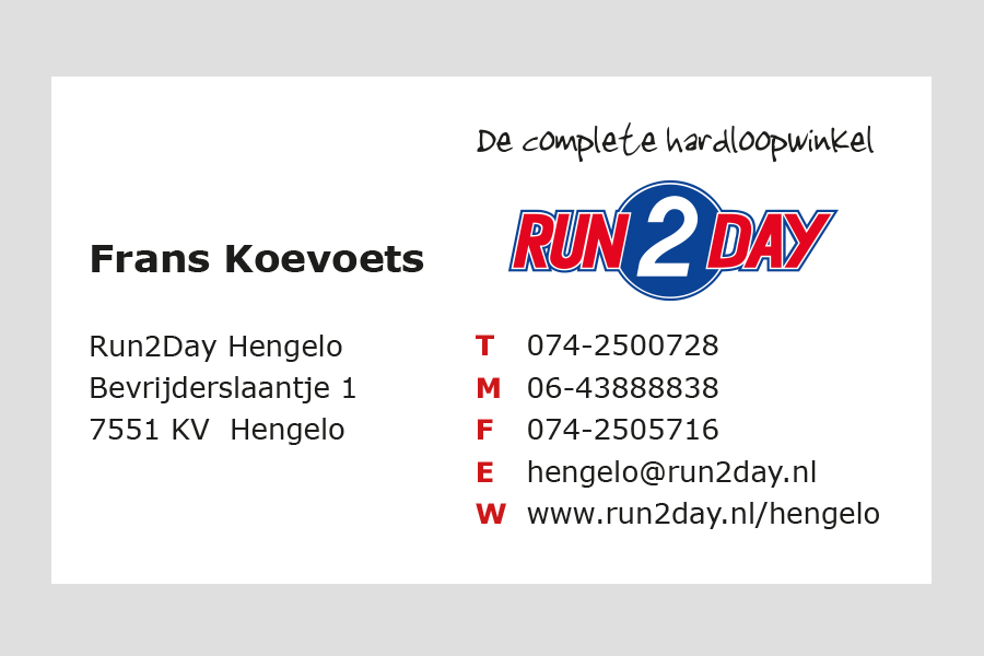2007 - Run2Day  visitekaartje