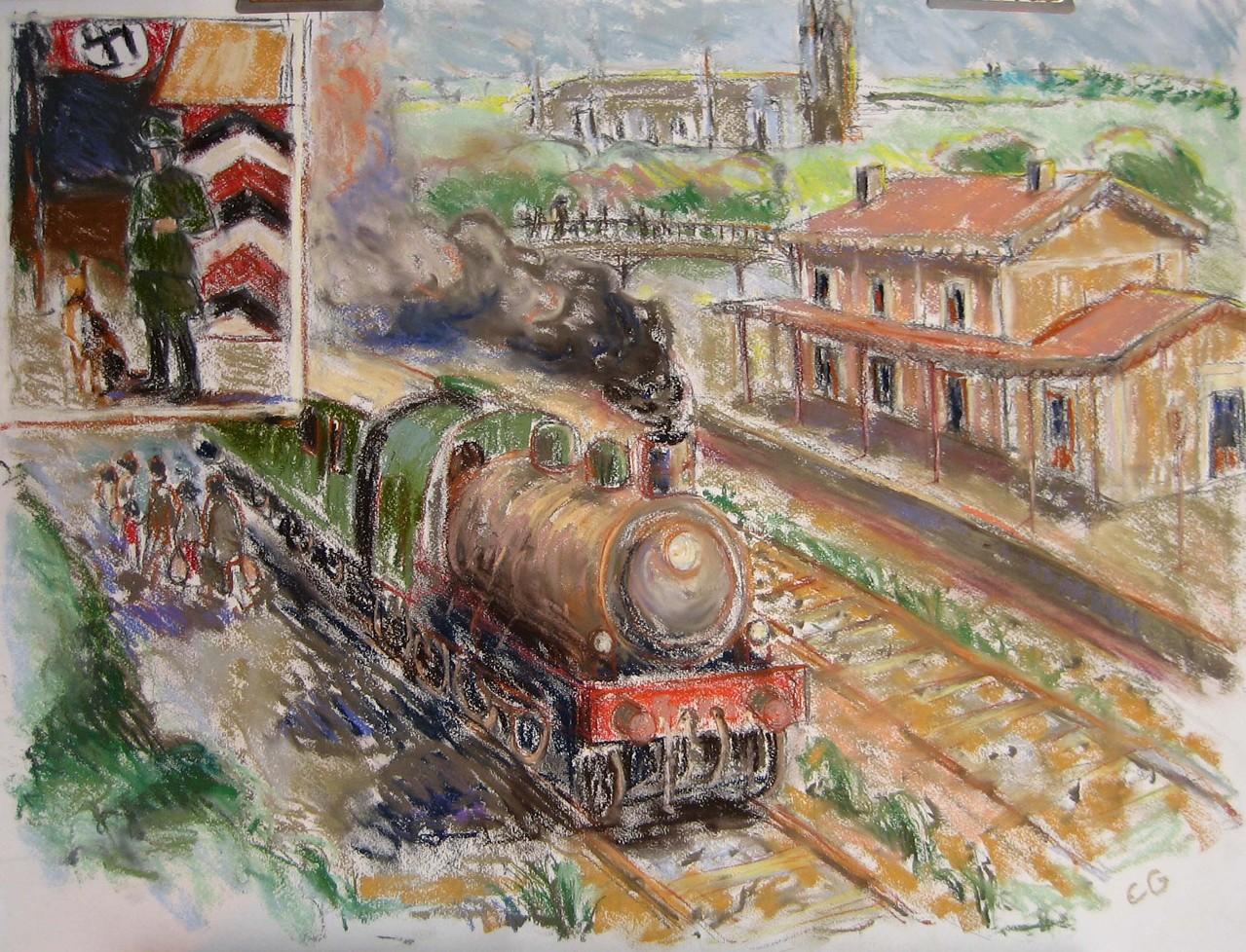 La gare de Bazas pendant l'occupation  Pastel - Fusain sur papier   64x50cm
