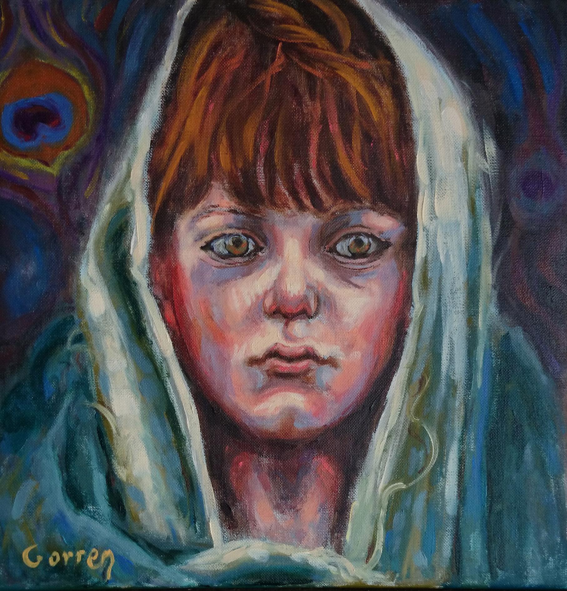 Enfant Yazidi pendant l'exode - huile sur toile - 30 x 30 cm