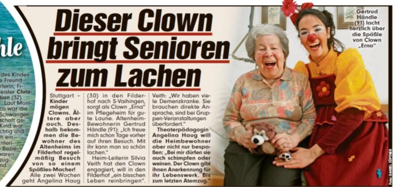 Presseartikel aus der Bildzeitung über den Clown für Senioren Angelina Haug aus Stuttgart, veröffentlicht mit freundlicher Genehmigung der BILD-Zeitung