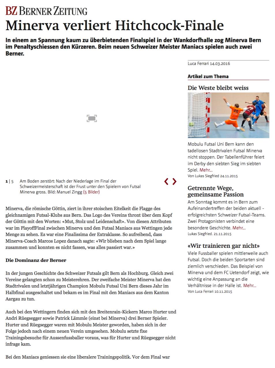 Berner Zeitung BZ - 14. März 2016 - S. 1