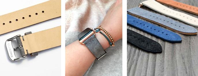 apple watch armband leather leder geschenk rose gold grau lederarmband watch series 3 frauen männer wildleder velour vintage weihnachten uhrenarmband