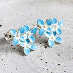 vergiss mein nicht ohrstecker ohrringe handmade fabulous funky schmuck forgetmenot vergissmichnicht blüten blau flower blue