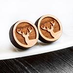 hirsch hirschohrstecker wood holz holzohrstecker ohrringe rund fabulous funky deer winter