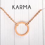 karma kreis kette rund edelstahl minimalistisch fabulous funky rose gold karmakette necklace geschenk botschaft spruchkette spruch