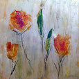 Orange Blumenwelt, 80cm x 80cm, Acryl auf Leinwand