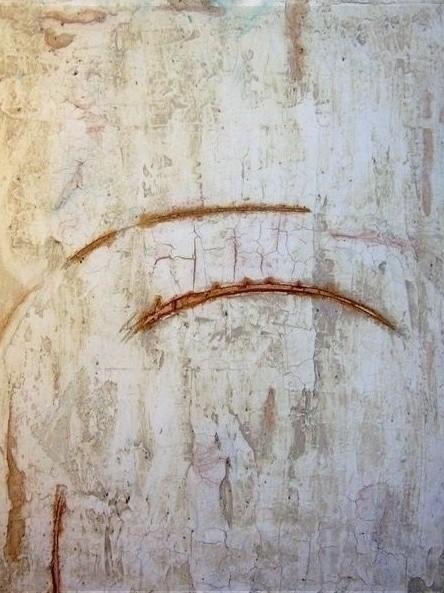 N°19 - Rissiges Beige, 40cm x 30xm, Materialmix auf Leinwand
