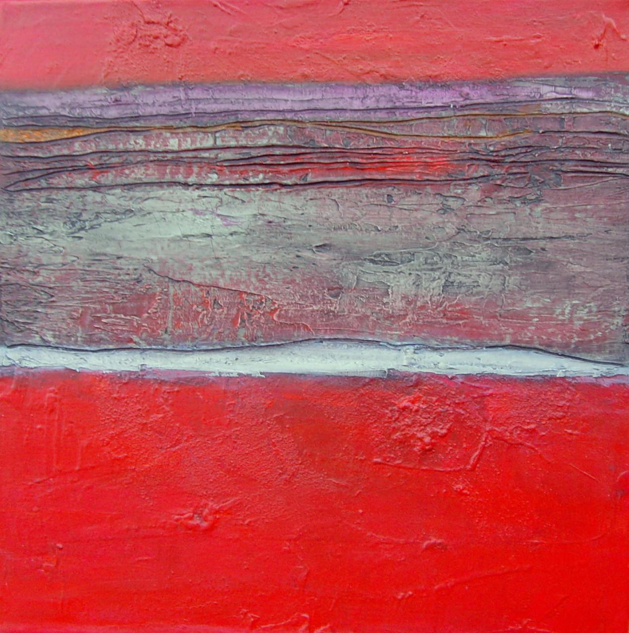 Qudratische Rot, 40cm x 40cm. Mixed Media