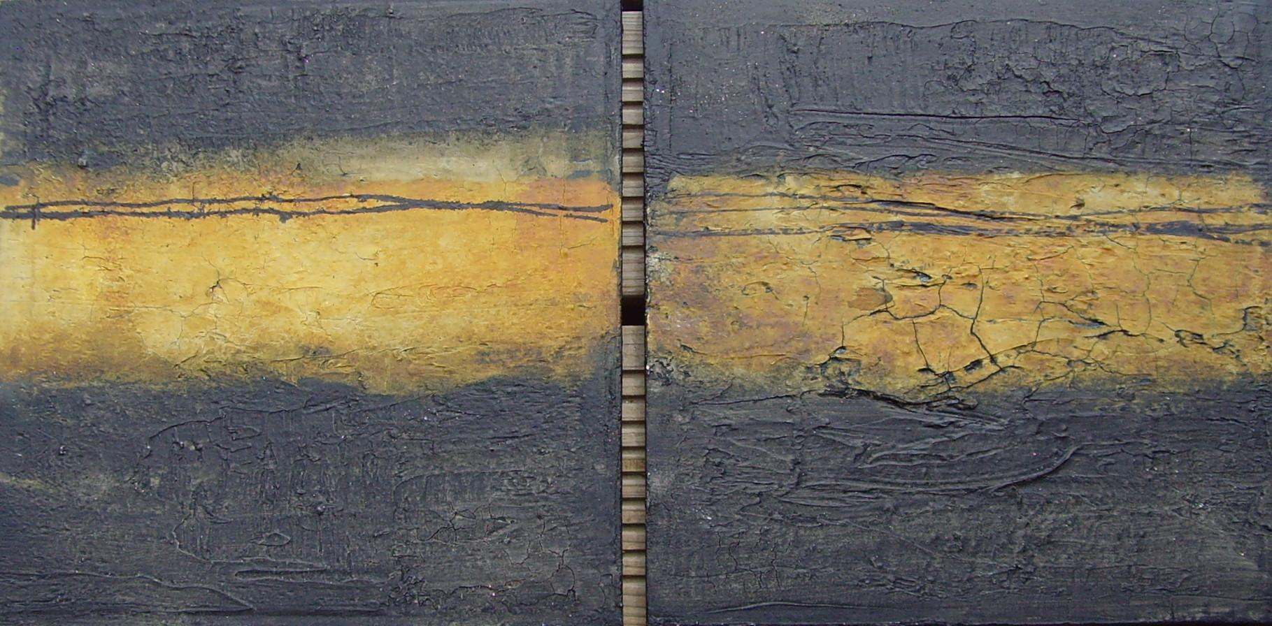 2 x Ocker-Schwarz, 40 cm x 40xm, Mixed Media