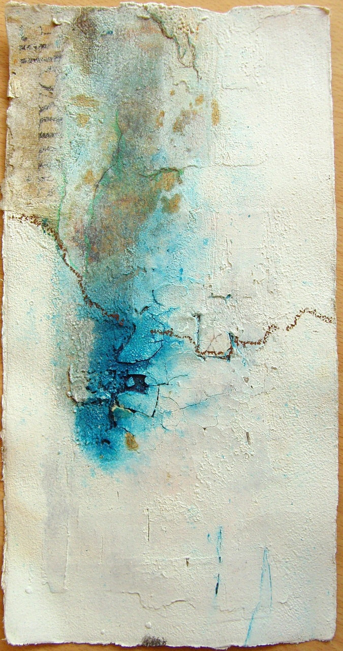 33cm x 16,5cm, Abstrakte Papierarbeit mit Sumpfkalk