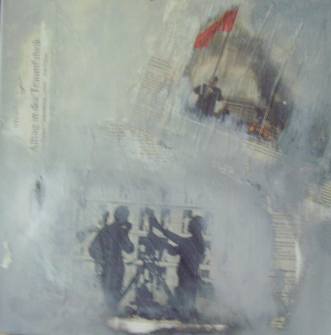 Auseinandersetzung 30cm x 30cm Acryl, Collage