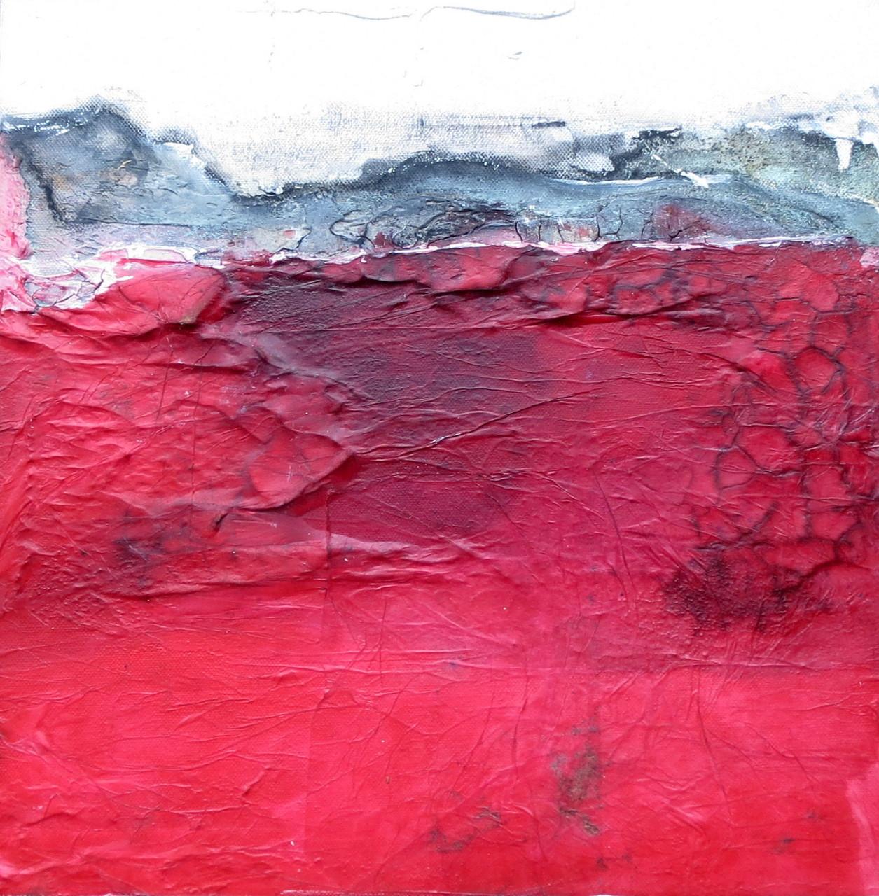 Unten Rot, 40cm x 40cm, Mixed Media