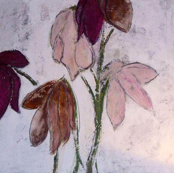 80cm x 80cm, Abstrakte Blumenwelt, Materialmix auf Leinwand
