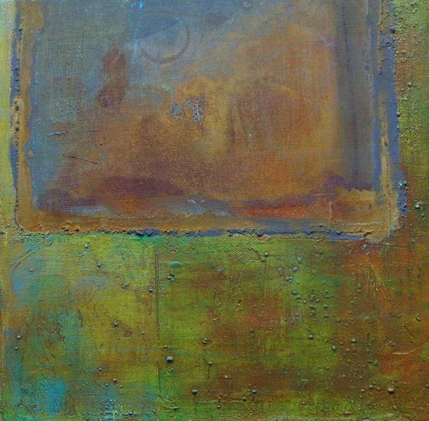 30cm x 30cm, Rostiges Grün, Rostarbeit auf Leinwand