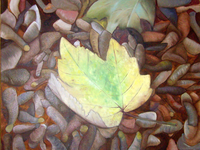 57cm x 74cm, Blätterfall, Öl auf Leinwand