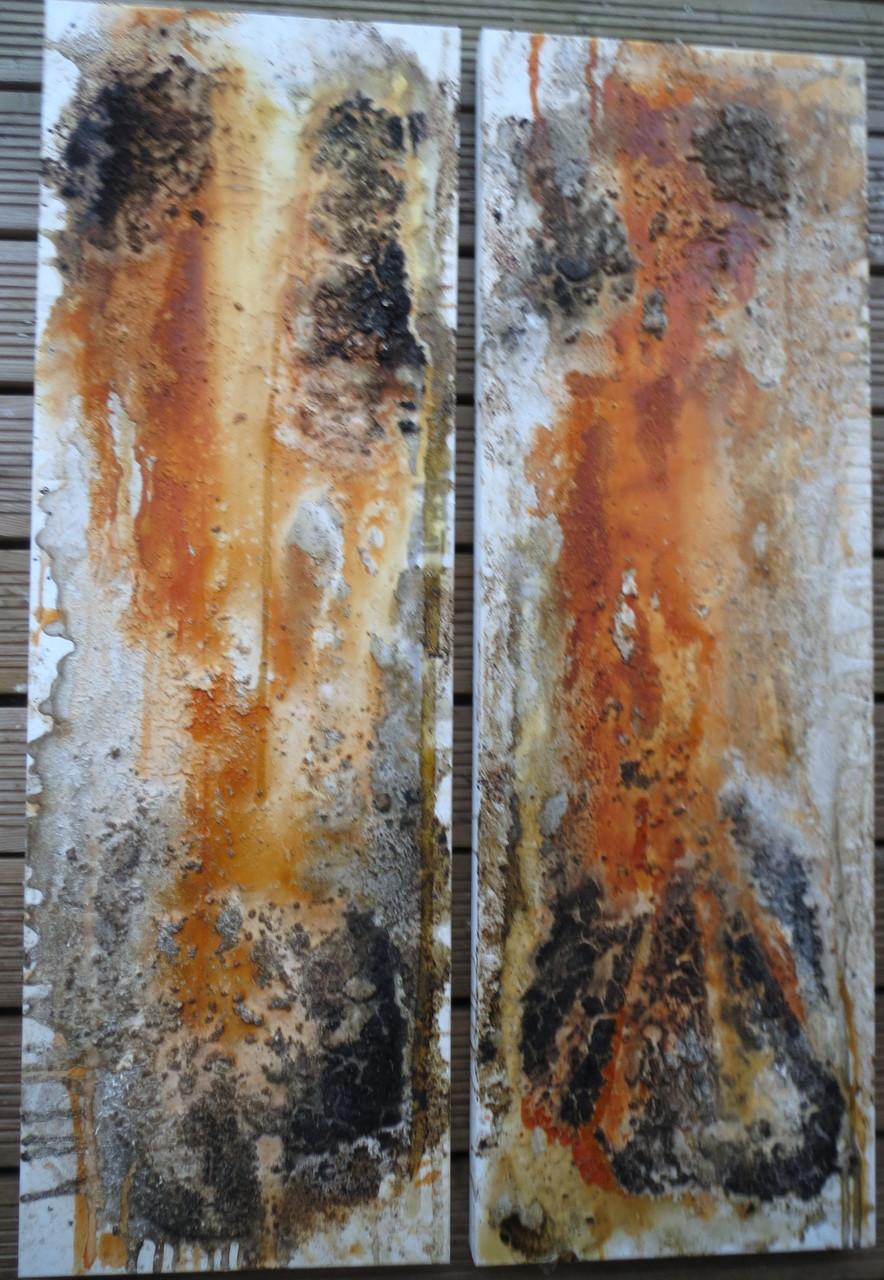 Durchbrochen, 2x 40cm x 1,20m, Mixed Media auf Leinwand