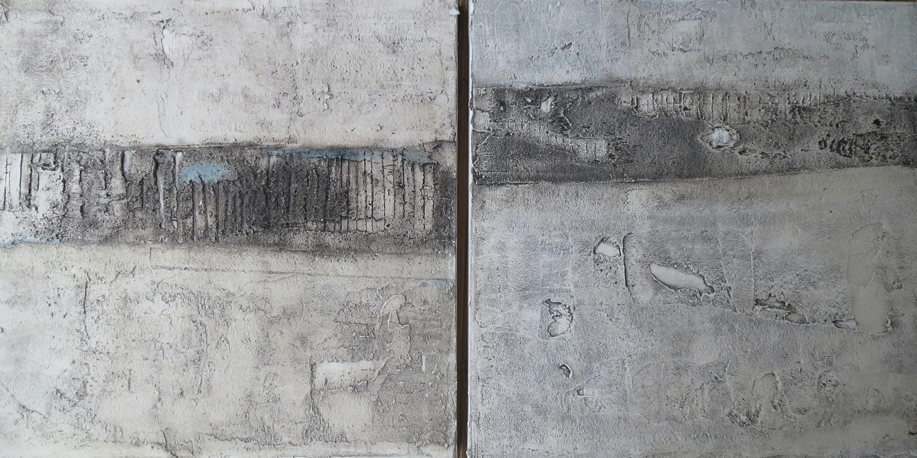 2 x Wenn Wände reden könnten, je 60cm x 60cm x 4,5cm, Baumaterial auf Leinwand