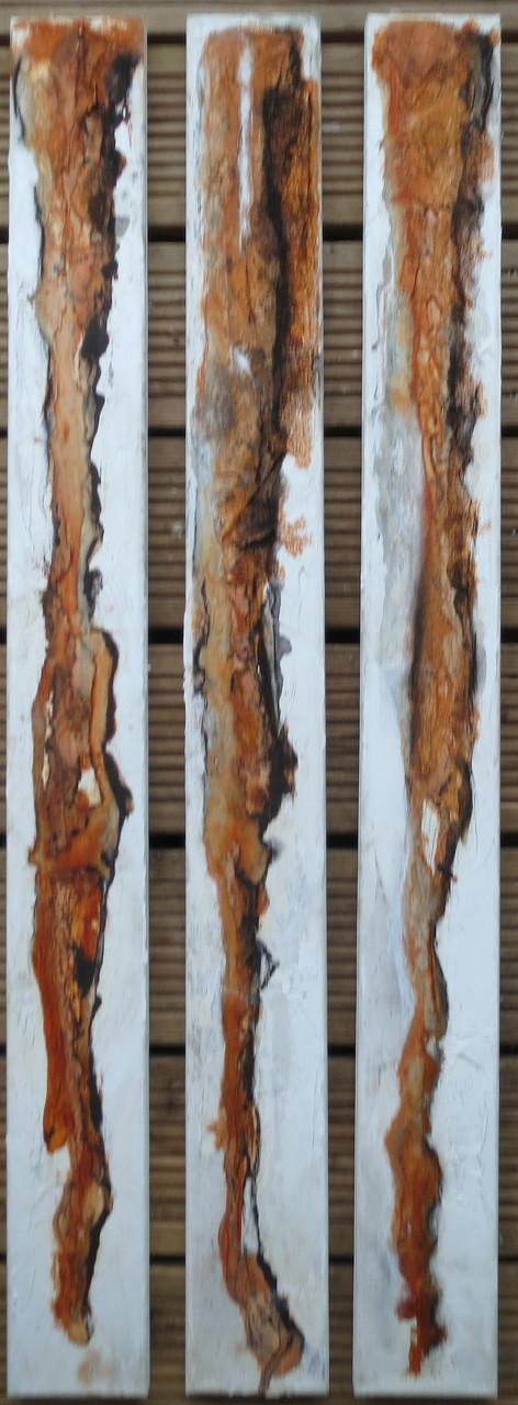 Lattenwirrwarr, 3 x 20cm x 1m, Mixed Media auf Leinwand