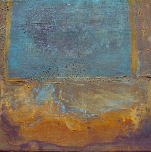 30cm x 30cm, Rostiges Blau, Rostarbeit auf Leinwand