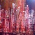 Glühende Skyline, 50cm x 1m, Acryl auf Leinwand